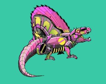 Dimetrodon Robosaur art print 5x7