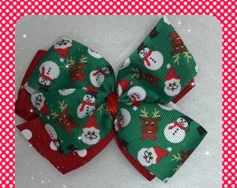 Christmas Santa Claus and reindeer pinwheel hair bow