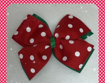 Holiday red and white polka dots pinwheel hair bow