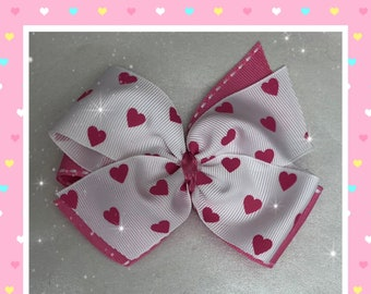 White with bright pink heart pinwheel hair bow