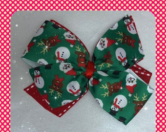 Christmas Santa Claus and reindeer pinwheel bow