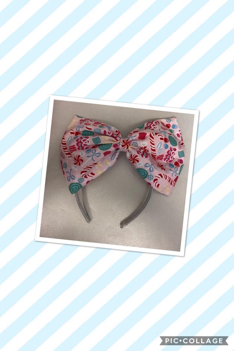 Extra large holiday treats bow headband image 0