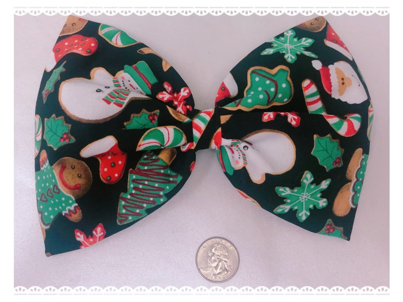 Christmas cookie large holiday hair bow image 0