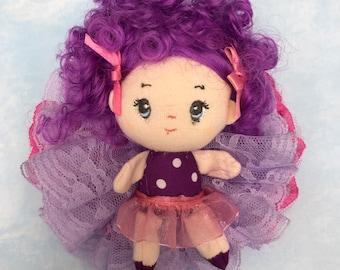Doll rosette hair clip grape