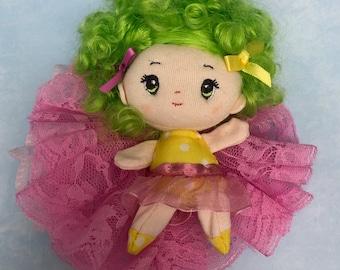 Doll rosette hair clip lime