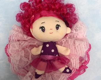 Doll rosette hair clip raspberry
