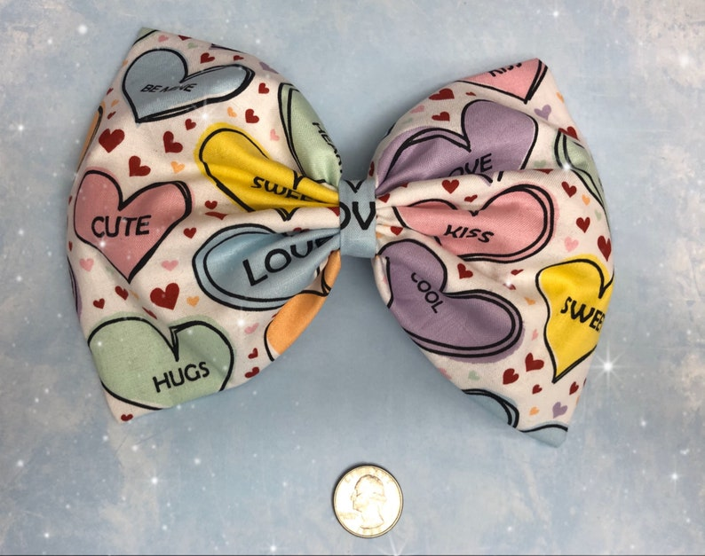 Valentines Day hearts pastel large hair bow image 0