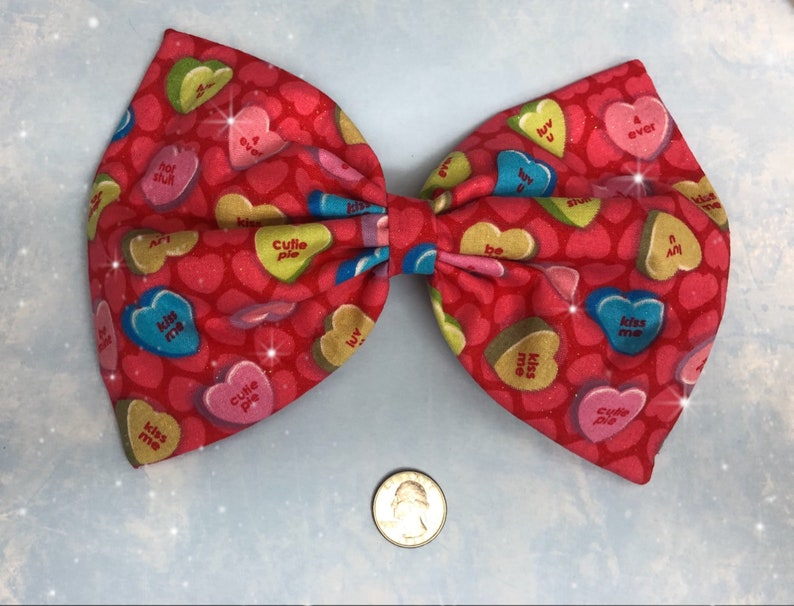 Conversation heart Valentines Day large hair bow image 0