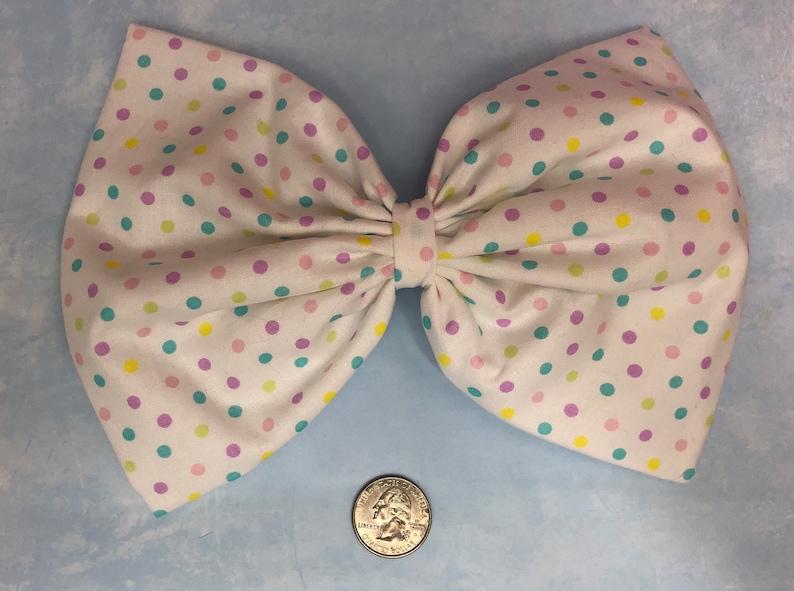 Pastel polka dots large hair bow image 0
