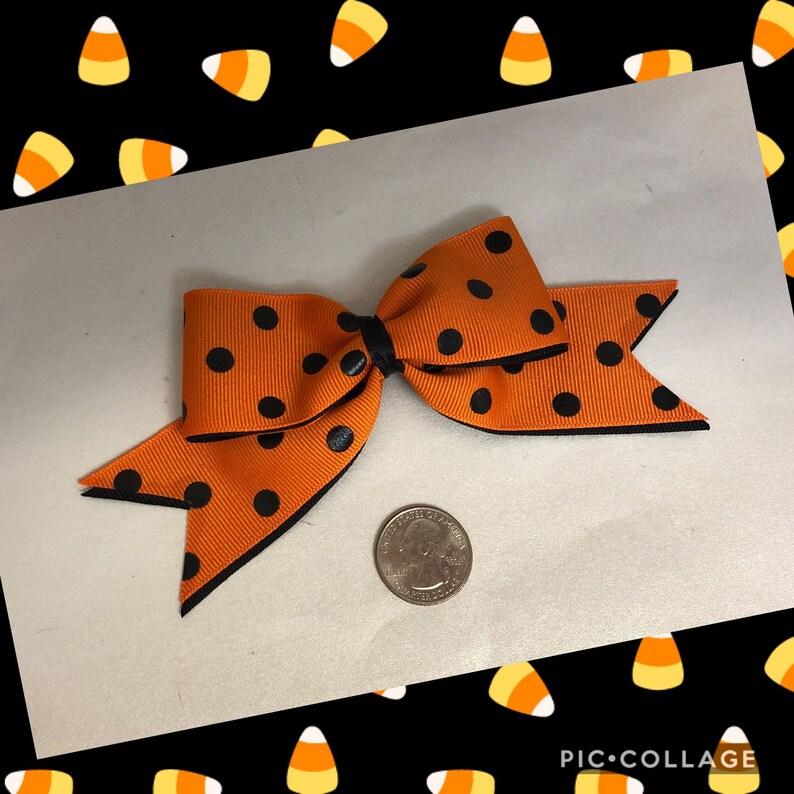 Halloween polka dot ribbon bow image 0