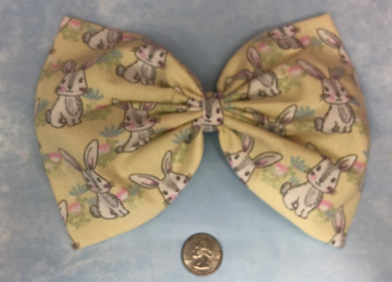 Pastel yellow bunny large hair bow image 0