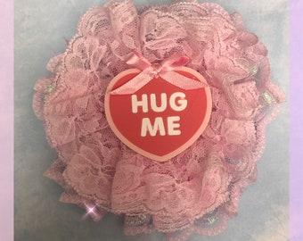 Pink conversation heart hair clip