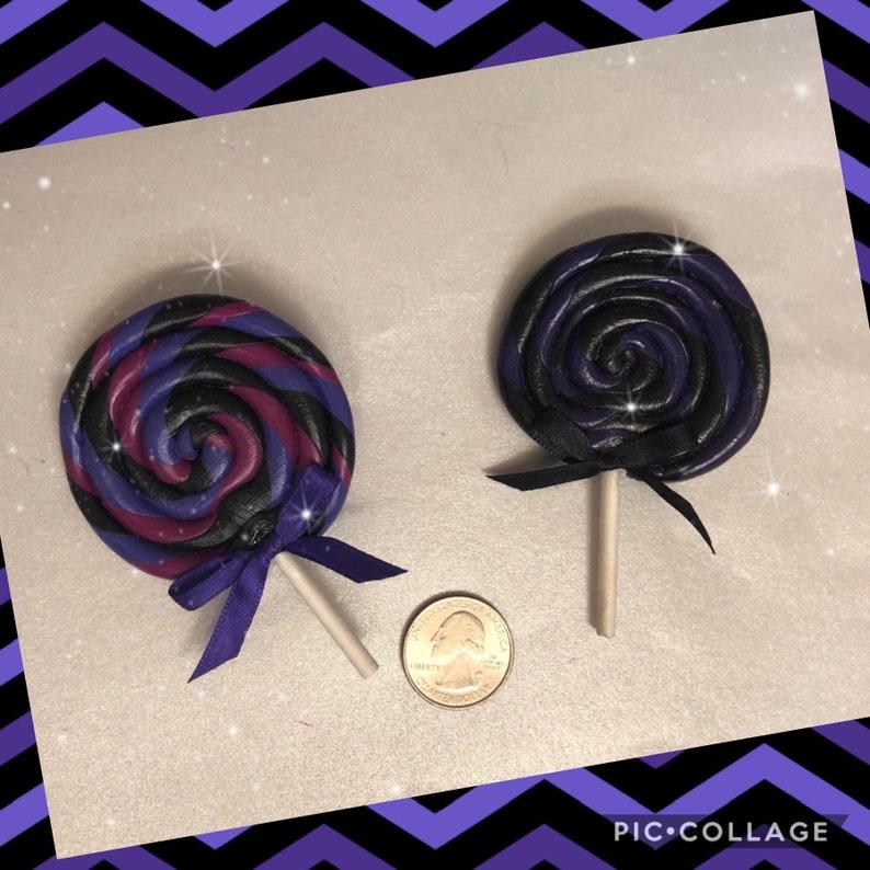 Purple swirl lollipop hair clip image 0