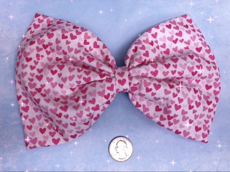 Valentines Day tiny hearts large hair bow image 0
