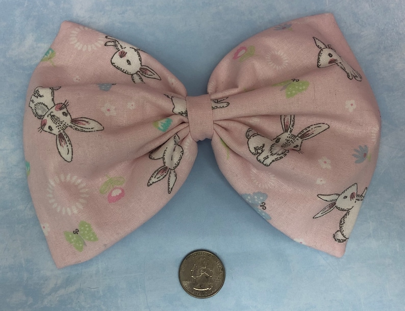 Pink bunny large hair bow image 0