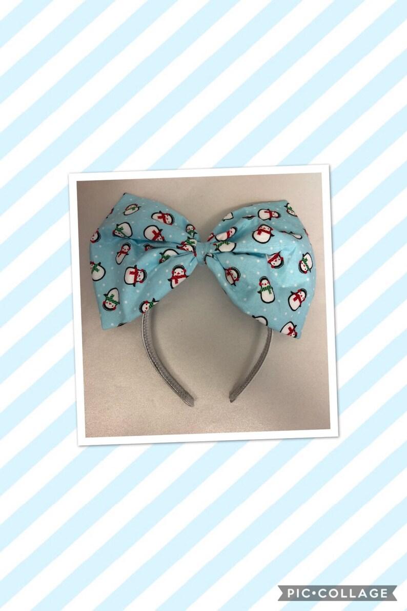 Extra large holiday penguins bow headband image 0