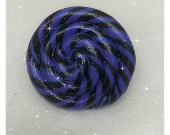 Purple and black swirl faux lollipop ring