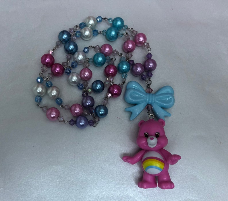 Care Bear Cheer Bear hand beaded necklace image 0