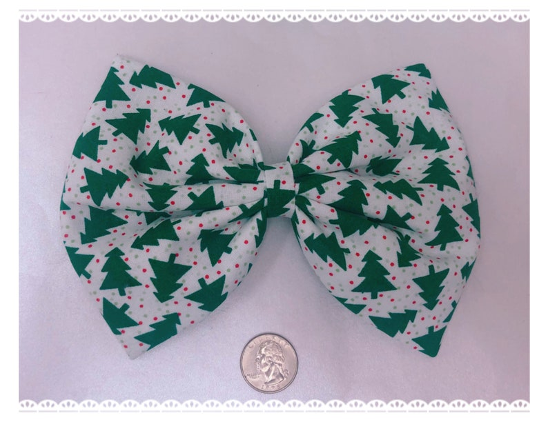 Christmas tree large hair bow image 0