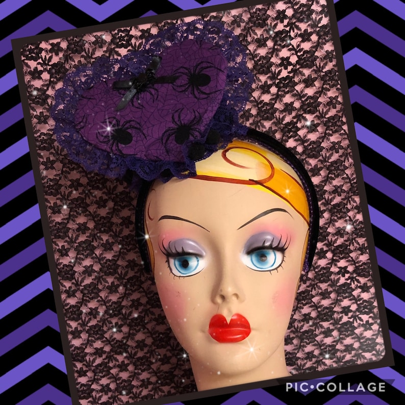 Purple spider heart fascinator headband image 0