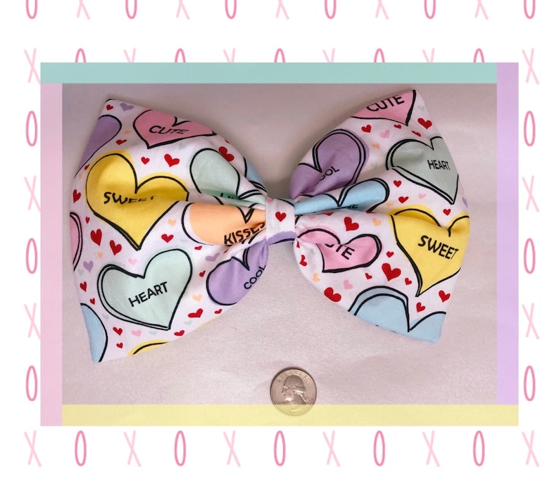 Large Conversation Heart Hair Bow image 0