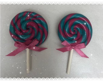 Pink and turquoise swirl clay lollipop hair clip