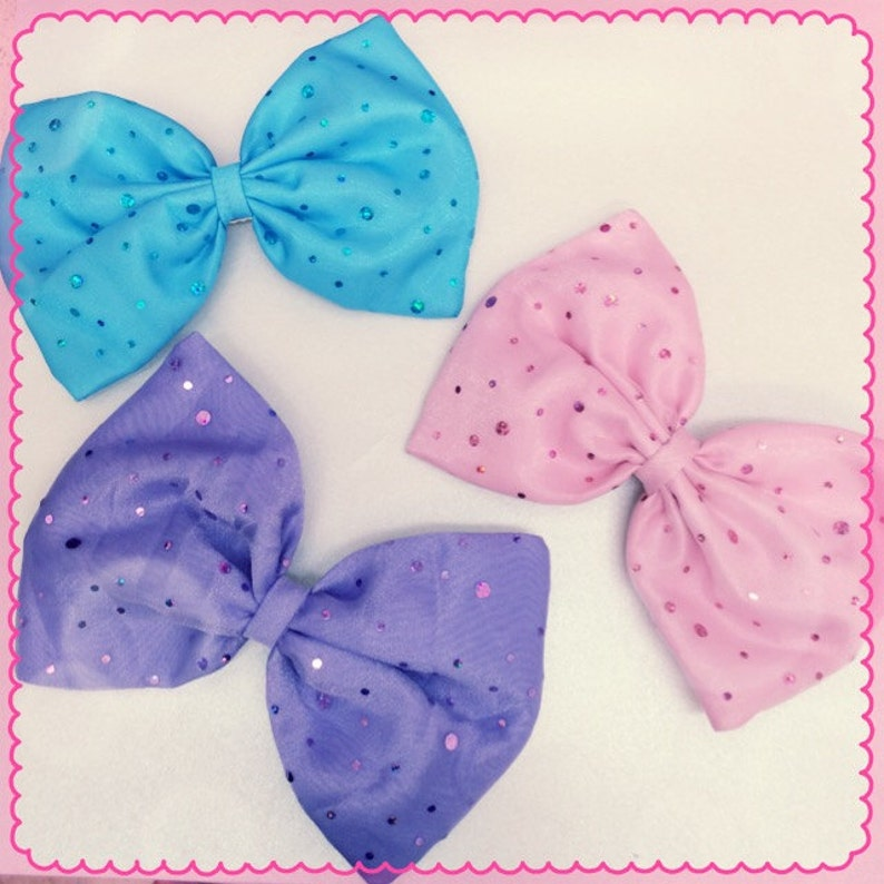 Pastel sparkle hair bow image 0