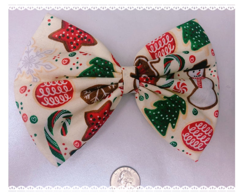 Christmas cookie large hair bow image 0