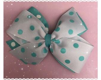 Mint polka dot pinwheel hair bow