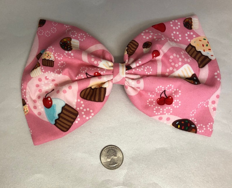 Yummy all over cupcake print large hair bow image 0