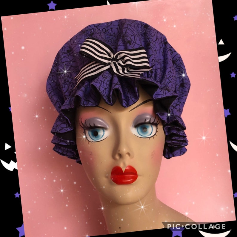 Lily Munster inspired purple spiderweb muffin hat child size image 0