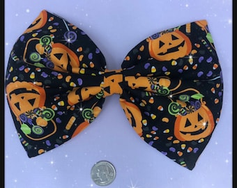 Halloween pumpkin and candy large hair bow