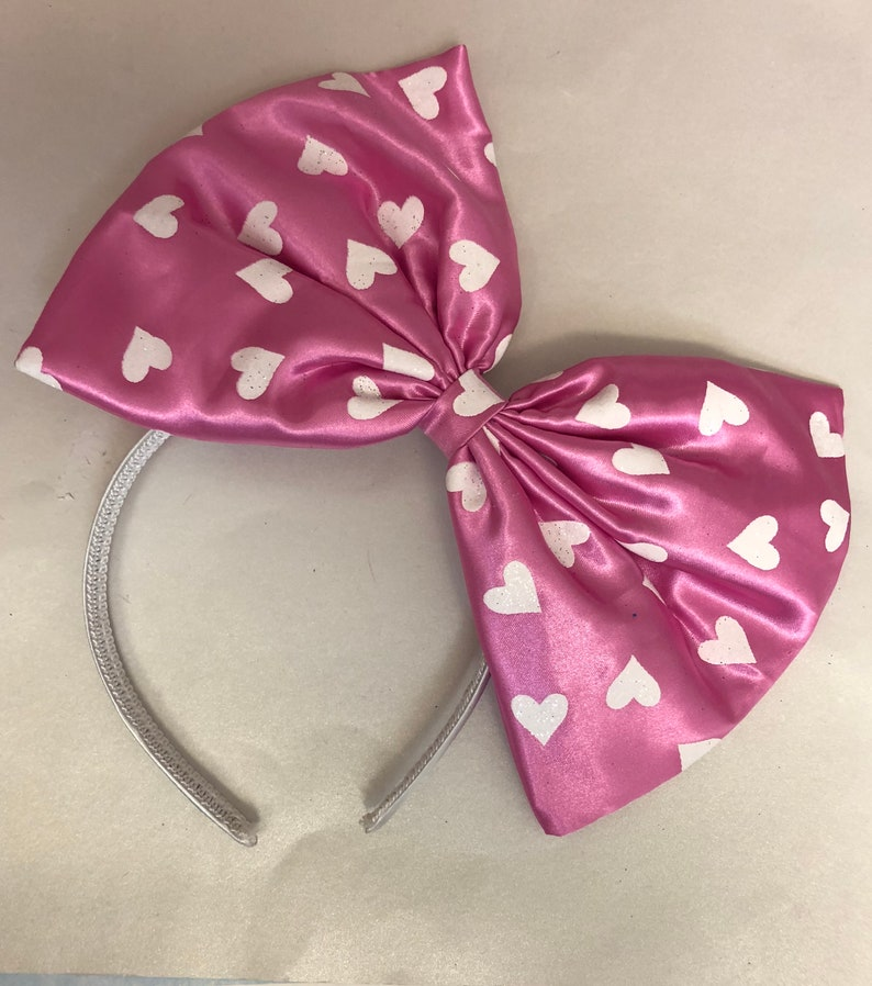 Extra large pink with white heart satin bow headband image 0