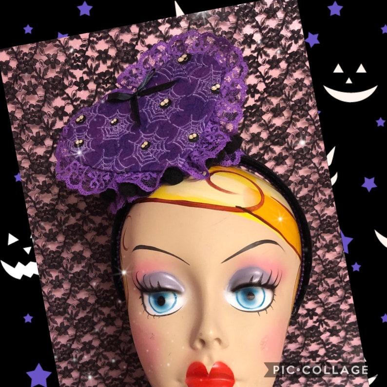 Silly spiders Purple Heart facinator headband image 0