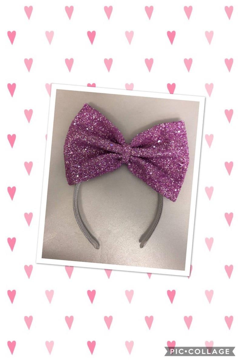 Extra large lavender glitter bow headband image 0