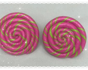 Pink and green swirl faux lollipop ring