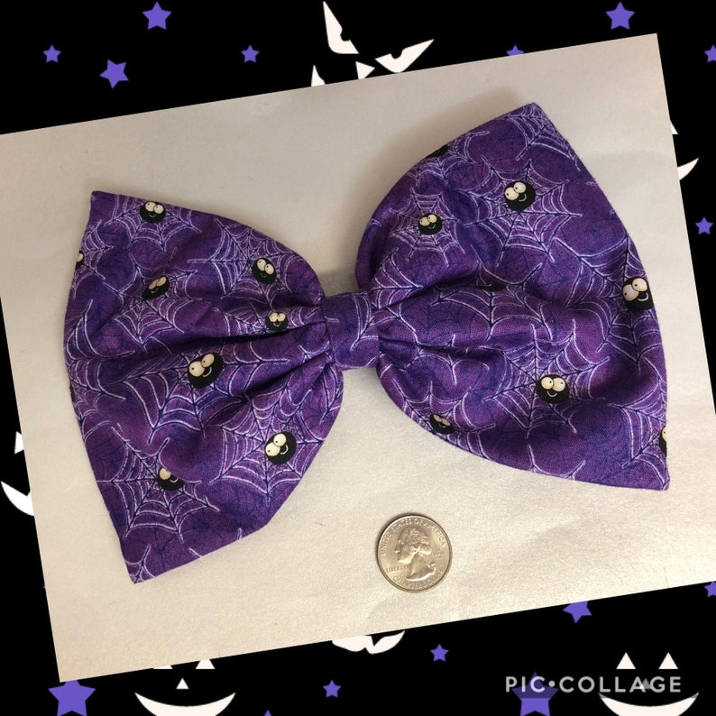 Halloween purple spider large bow image 0
