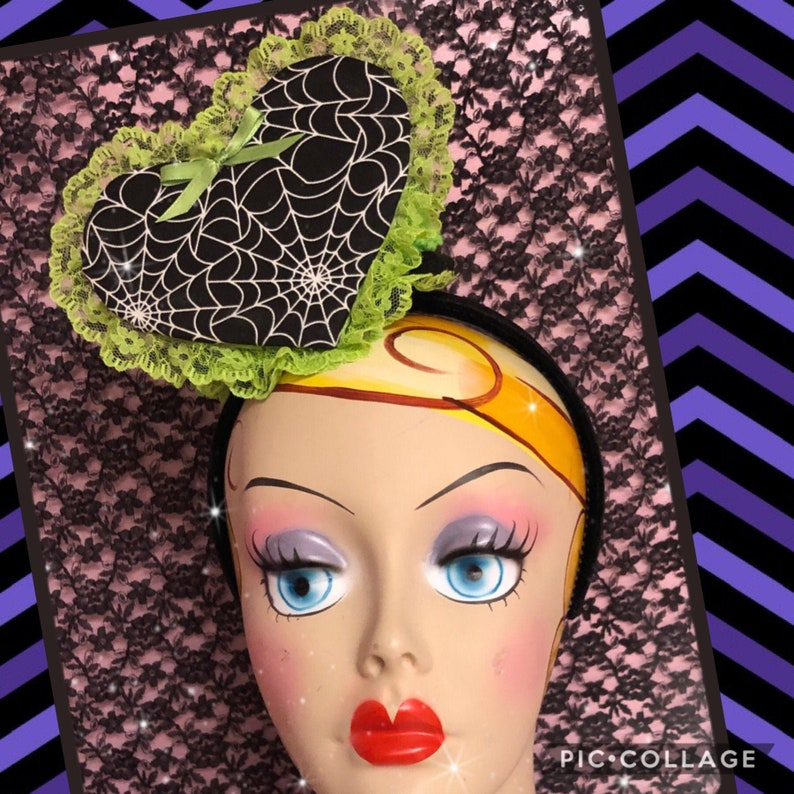 Spiderweb heart fascinator with green ruffle image 0