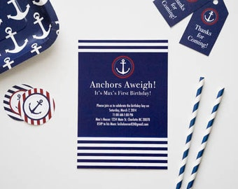 Navy blue and red nautical printable invitation, Nautical Birthday Party, Anchors Away, Anchors Aweigh, Navy Anchor Invitation