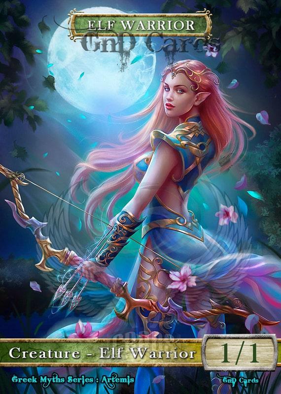3x Elf Warrior 8 Custom Altered Tokens Mtg Greek Myths Etsy