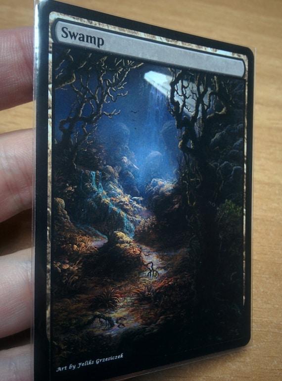 1x Swamp #7 Extended Textless Full Art Custom Altered Basic Land MTG