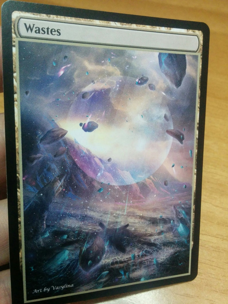1x Wastes #1 Extended Textless Full Art Custom Altered Basic Land MTG