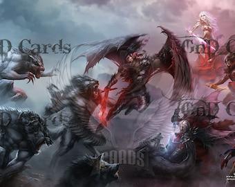 The Eternal Battle: Vampires Vs Werewolves Custom Playmat MTG