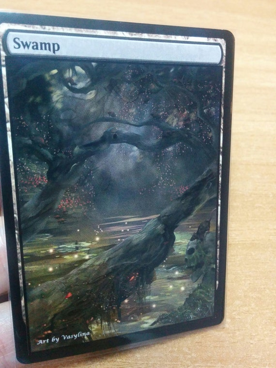 1x Swamp #9 Extended Textless Full Art Custom Altered Basic Land MTG