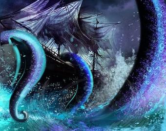 3x Kraken #1 Full Custom Tokens MTG Born of the Gods(for Kiora,the Crashing Wave)