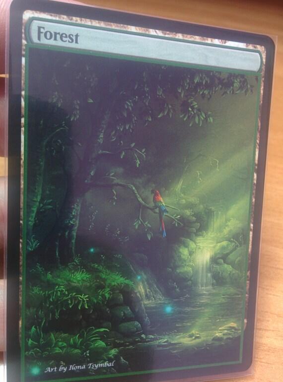 1x Forest #14 FOIL Extended Textless Full Art Custom Altered Basic Land MTG