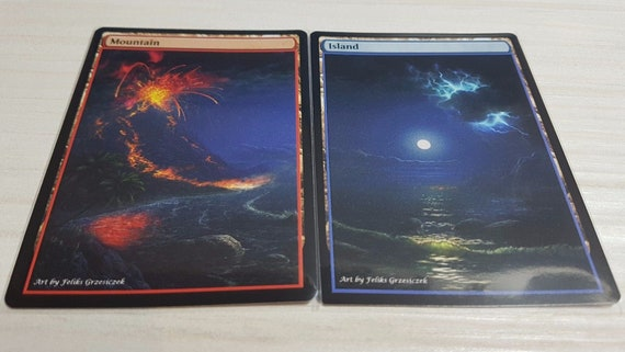 Full Set of Non-Foil Mountains Custom Altered Basic Lands MTG Discounted