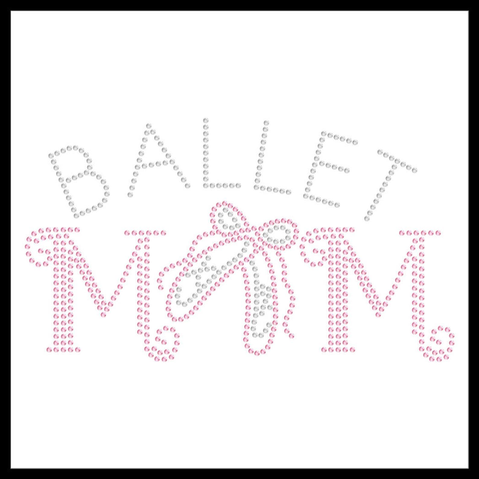 ballet mom dancer shoes rhinestone iron on transfer hotfix bling