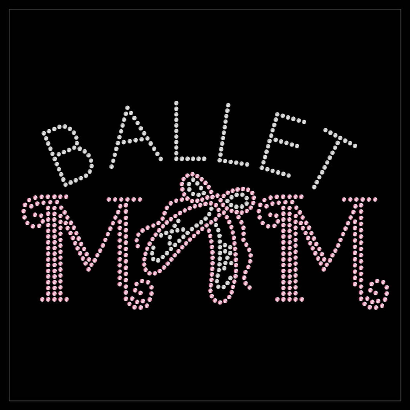 ballet mom dancer shoes rhinestone iron on transfer hotfix bling