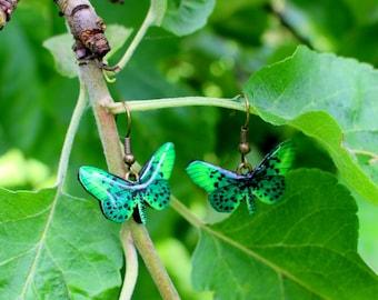 Green, Green earrings, Green butterfly, Green butterfly earrings, Green wings, Jewelry, Insect, Bug, Resin jewelry, Resin, Gift, summer2017